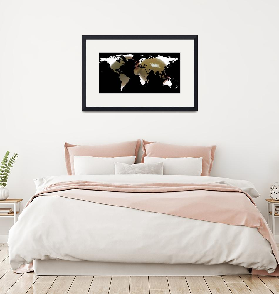 """""""World Map Silhouette - Martini Olives"""" by Alleycatshirts"""