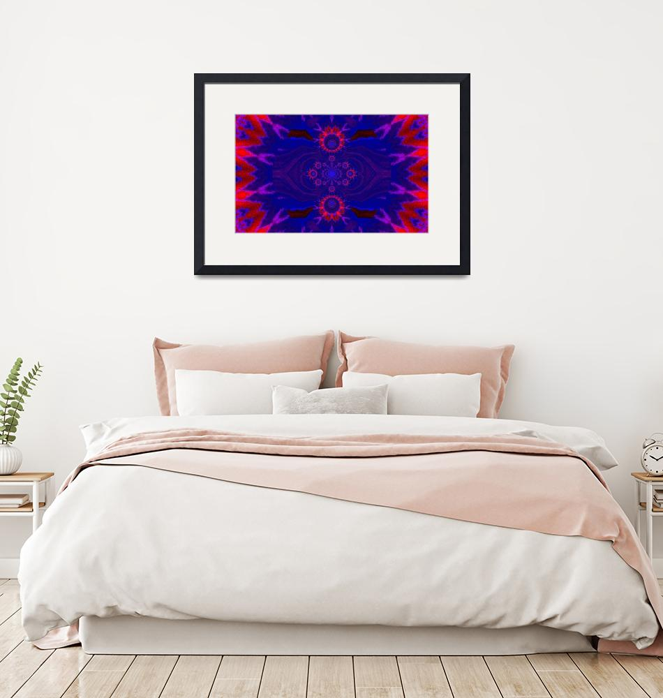 """Lotus Mandala in Blue and Red Pastels""  by Atlantis-Seeker-Art"