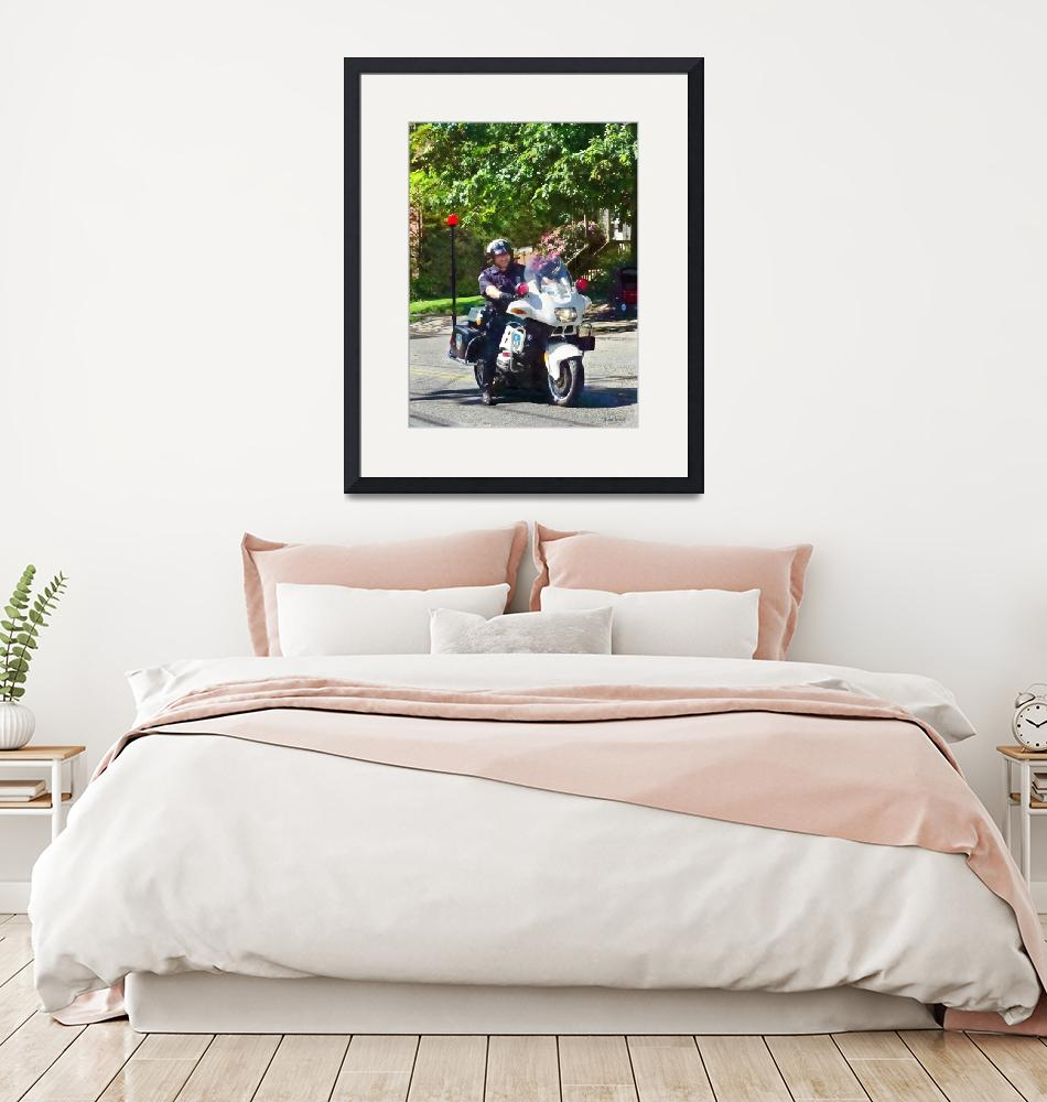 """""""Policeman On Motorcycle""""  by susansartgallery"""