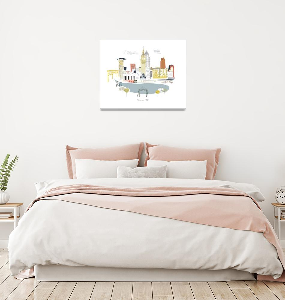 """""""Cleveland Modern Cityscape Illustration""""  by AlbieDesigns"""