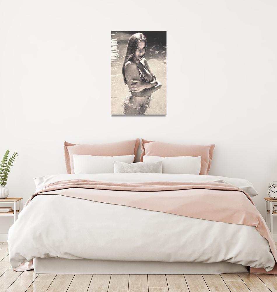 """Photograph Vintage Summer Look With Woman in Bikin""  by 4u"