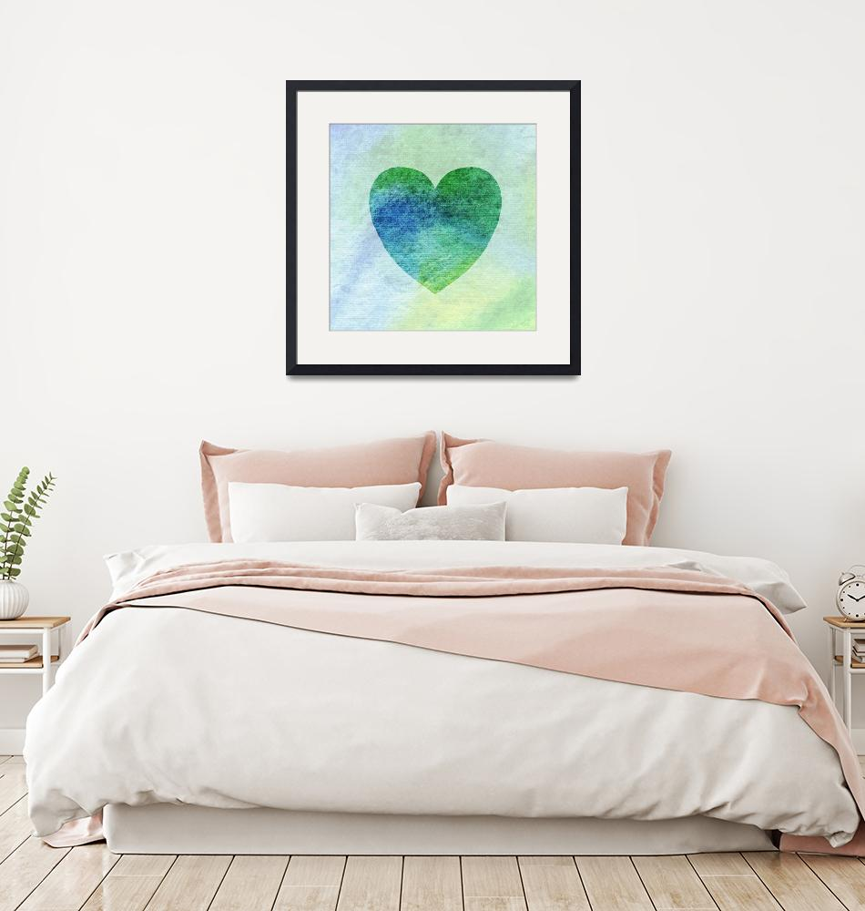 """Green And Blue Heart Watercolor Silhouette""  (2016) by IrinaSztukowski"