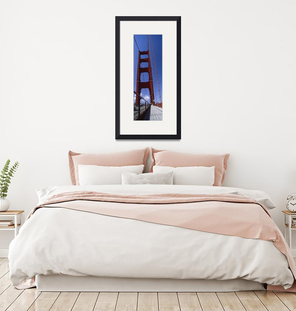"""""""Low angle view of a suspension bridge Golden Gate""""  by Panoramic_Images"""