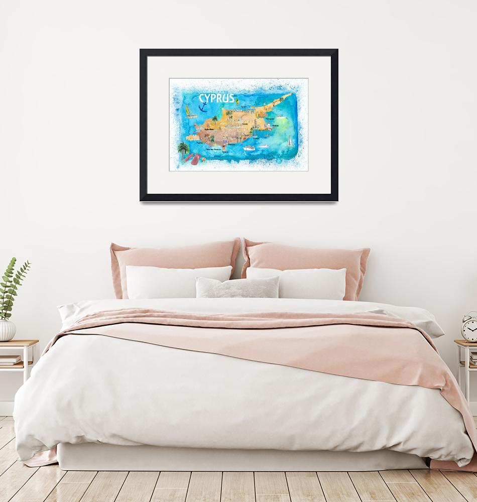 """""""Cyprus_Illustrated_Map_with_Main Roads_Landmarks_a""""  by arthop77"""