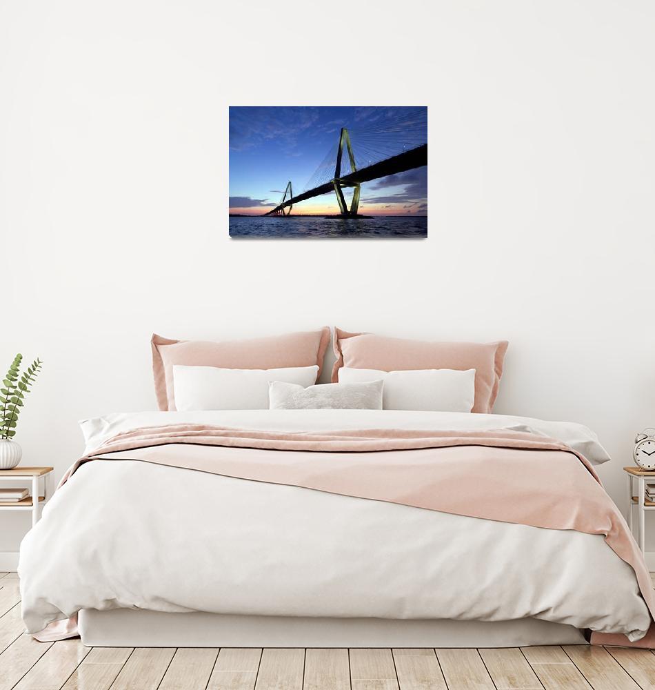 """Cooper River Bridge Sunset Charleston SC""  (2011) by DustinKRyan"