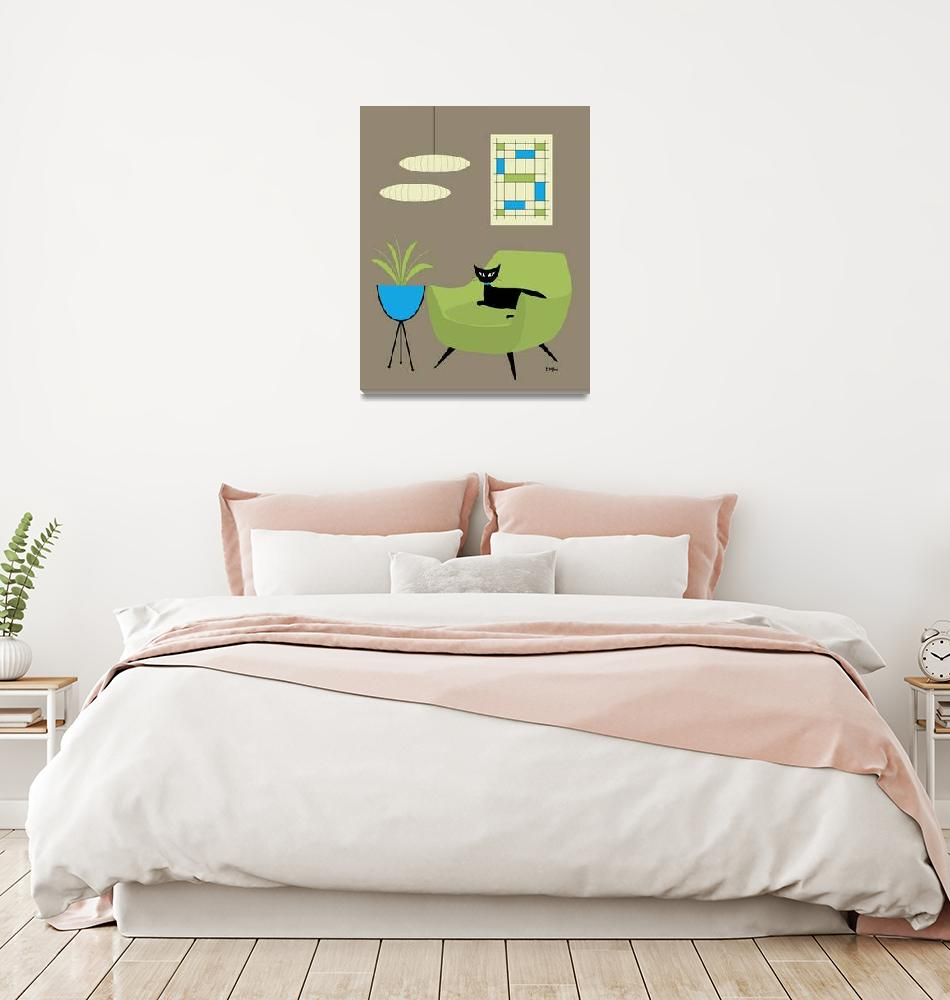 """""""Mid Century Mini Abstract in Green and Blue""""  (2018) by DMibus"""