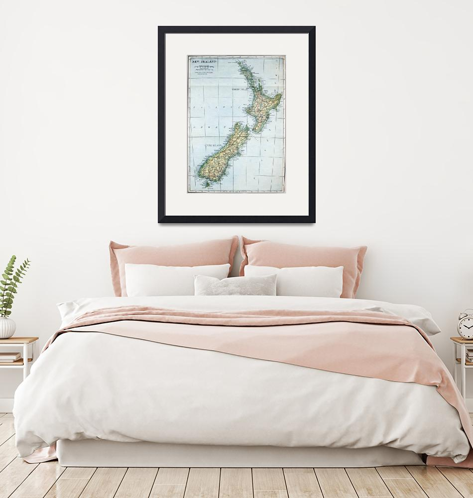 """""""Vintage Map of New Zealand (1921)""""  by Alleycatshirts"""