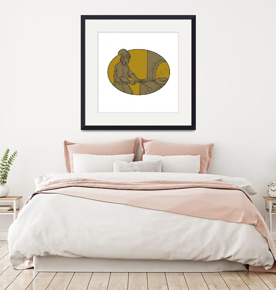 """""""Medieval Baker Bread Peel Wood Oven Oval Drawing""""  (2017) by patrimonio"""