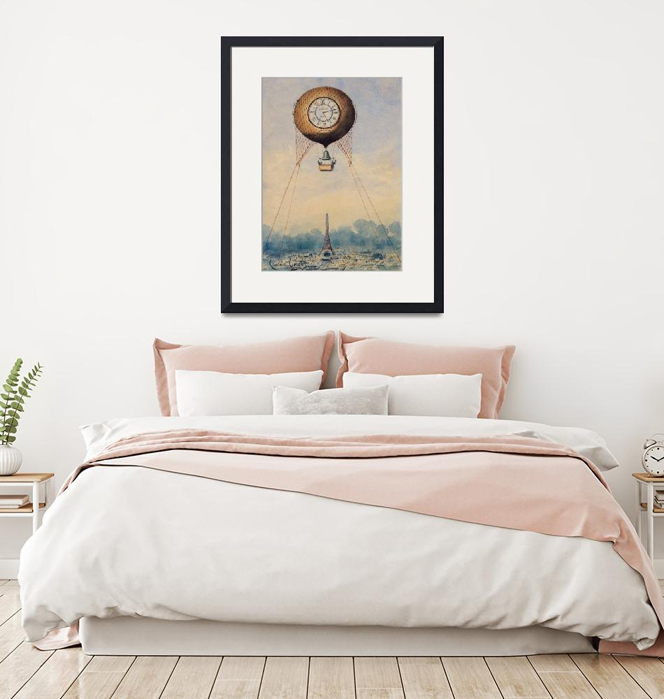 """""""Captive Balloon with Clock Face by Camille Gravis"""" by FineArtClassics"""