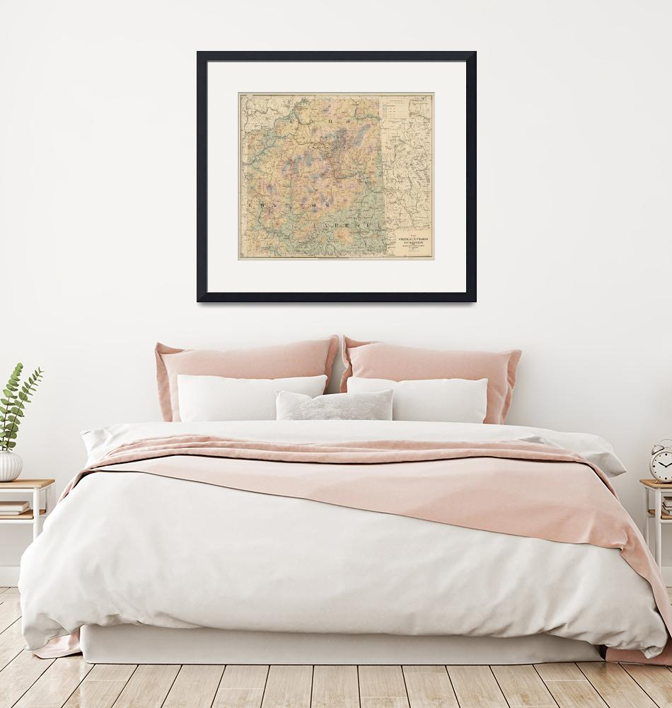 """""""Vintage Map of The White Mountains (1881)"""" by Alleycatshirts"""