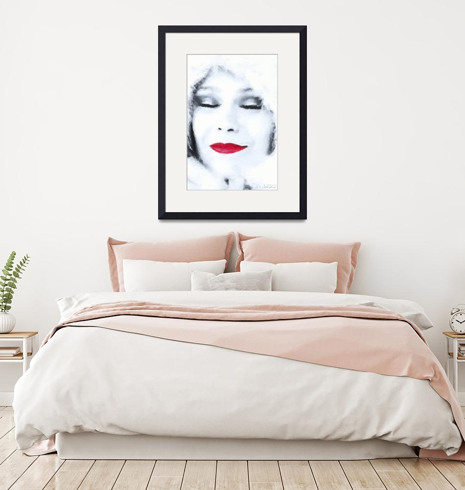 """Lady Red Lips Winter Dreaming -  Oil""  (2012) by WallArtDeco"