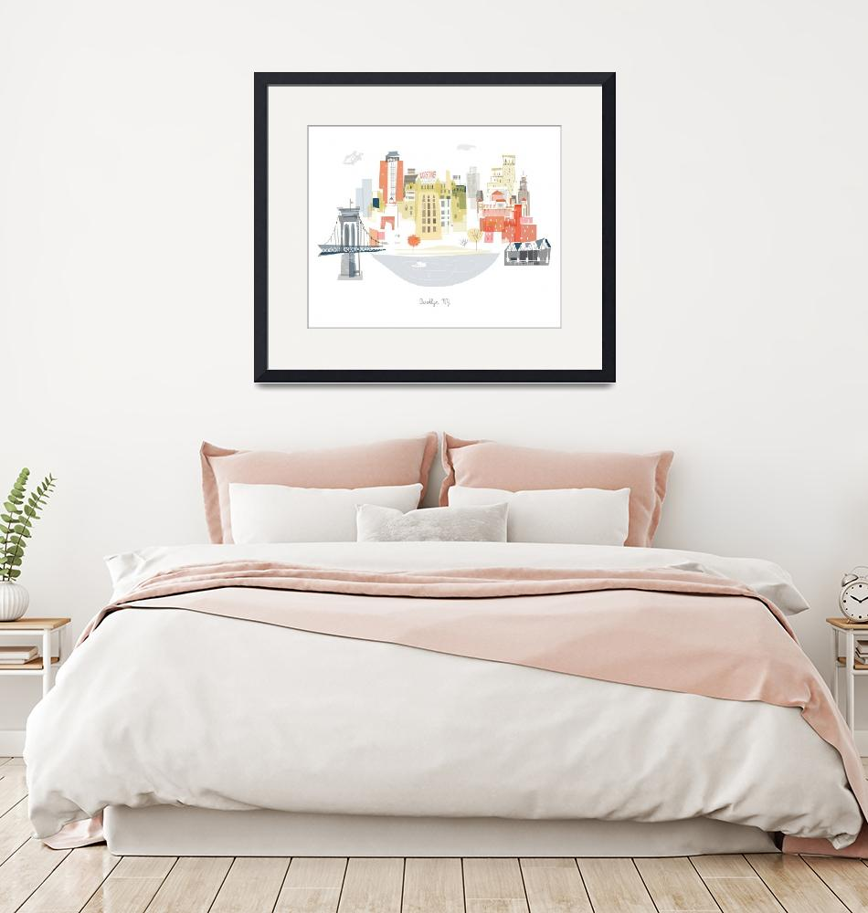 """""""Brooklyn Modern Cityscape Illustration""""  by AlbieDesigns"""