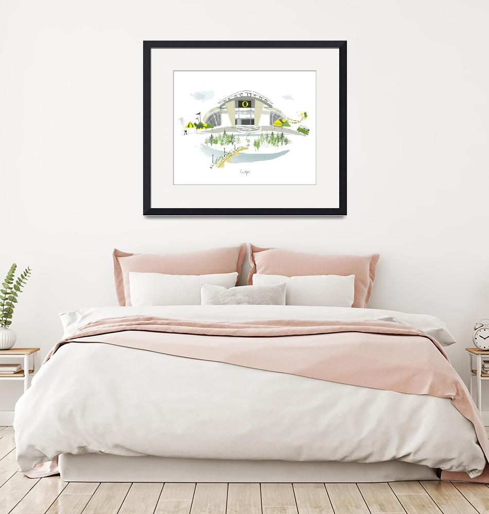 """Autzen Stadium Modern Cityscape Illustration""  by AlbieDesigns"