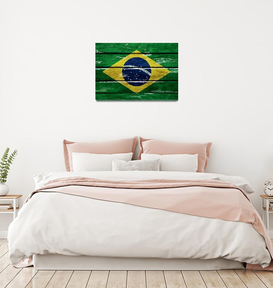 """Brazilian flag grunge style""  (2014) by flaviocoelho"