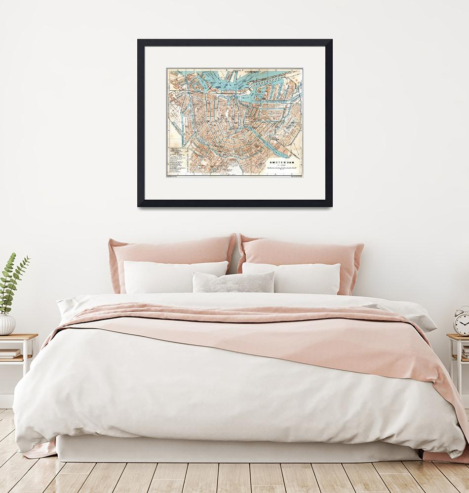 """Vintage Map of Amsterdam (1905)""  by Alleycatshirts"