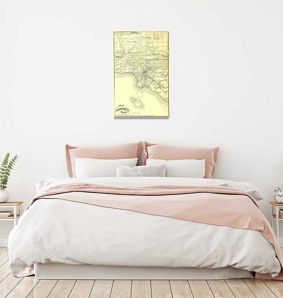 """Vintage Map of Los Angeles County (1895)""  by Alleycatshirts"