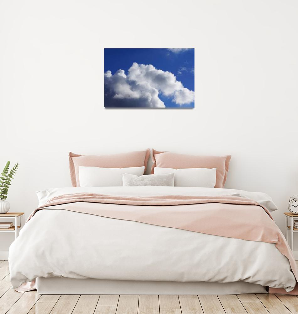 """""""Blue Sky Art prints White Clouds Canvas Framed""""  (2014) by BasleeTroutman"""