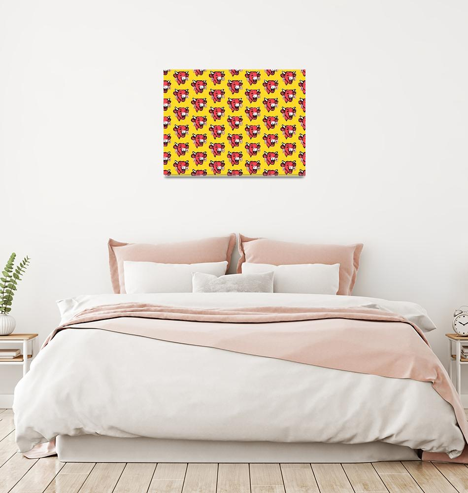 """""""The Laughing Cow Pop 1 - Pink on Yellow Wallpaper""""  (2015) by peterpotamus"""