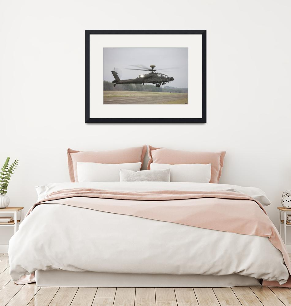 """""""An AH-64 Apache helicopter in midair, Conroe, Texa""""  by stocktrekimages"""