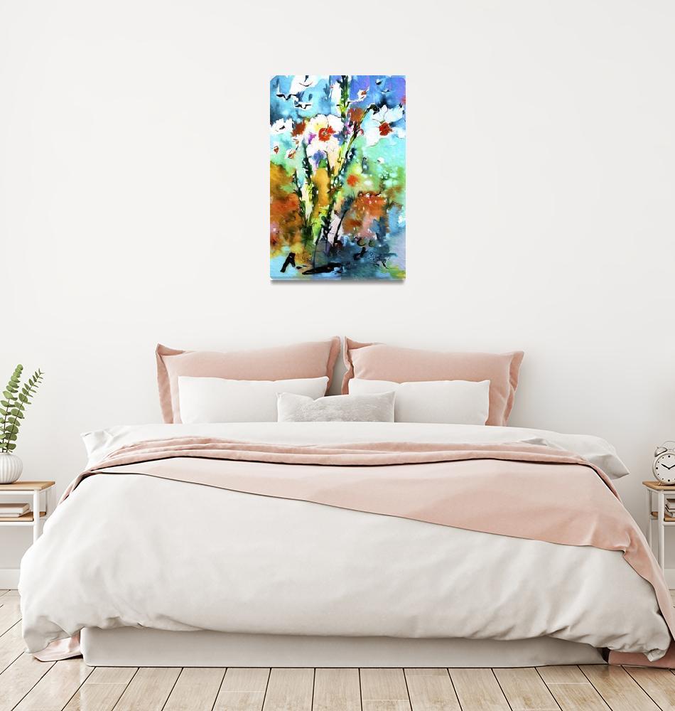 """Wild Daffodils Modern Mixed Media""  (2015) by GinetteCallaway"