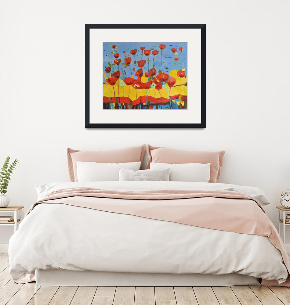 """""""Red Poppies Field Abstract Flower Landscape""""  (2019) by Maggy"""