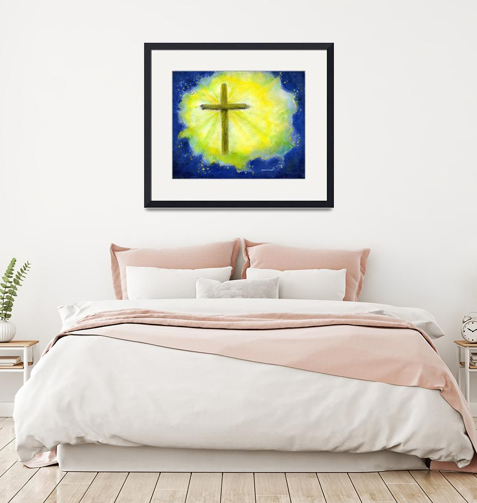 """Cross in Brilliant Yellow and Blue""  (2004) by Lenora"