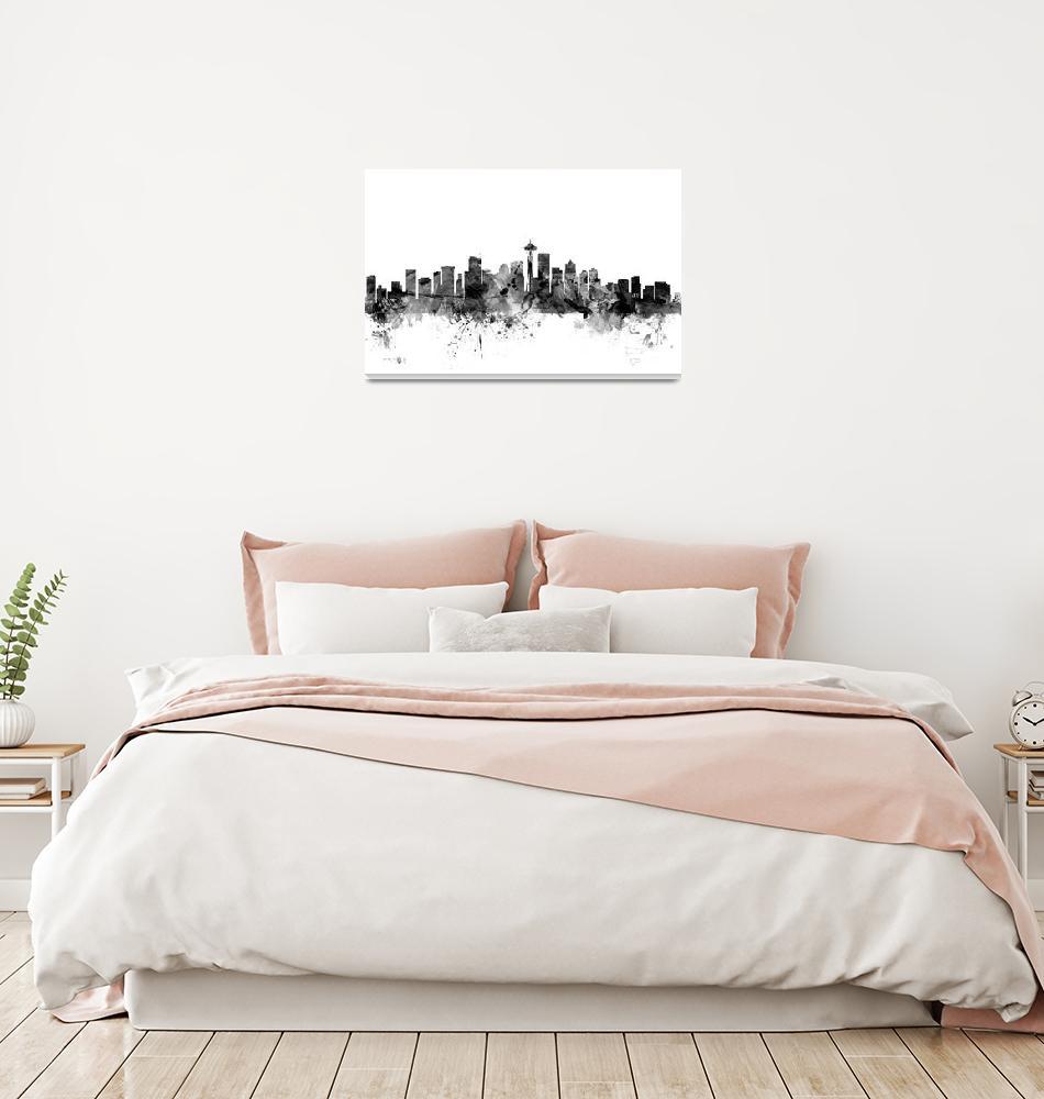 """Seattle Washington Skyline""  (2015) by ModernArtPrints"