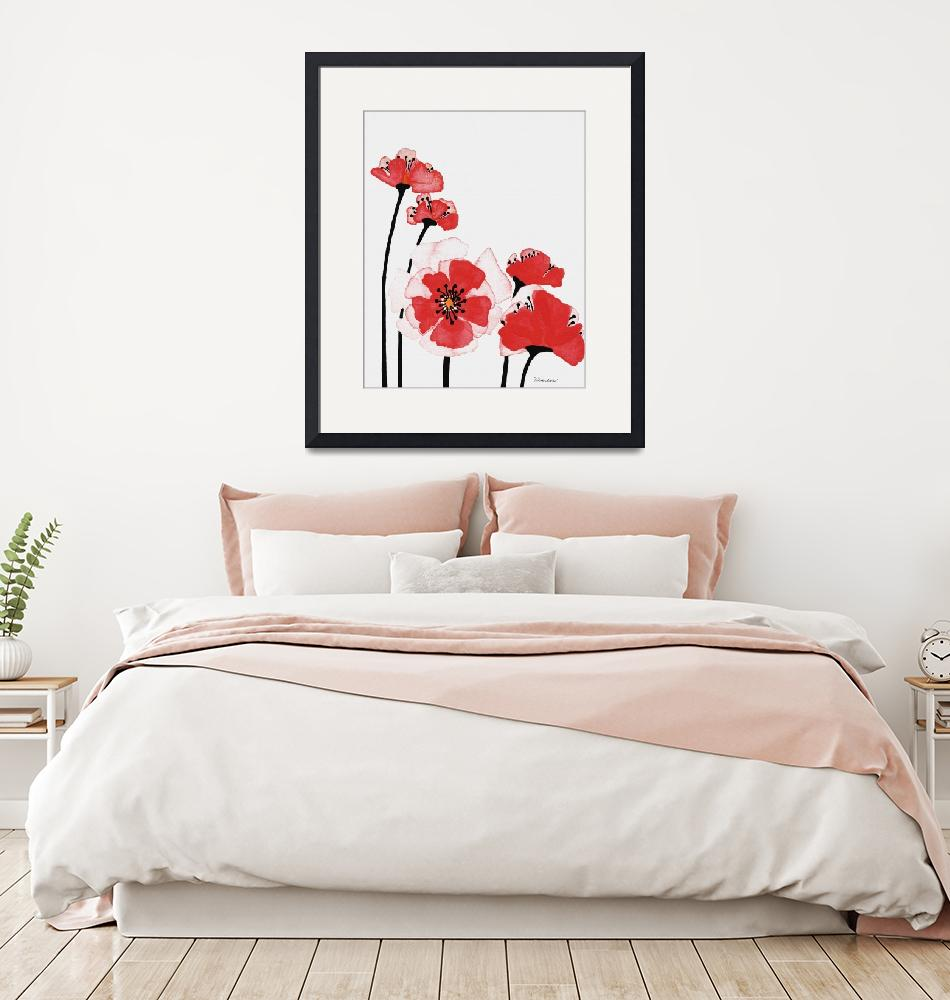 """""""Original Expressive Wild Red and Pink Poppies w3e""""  (2014) by Ricardos"""