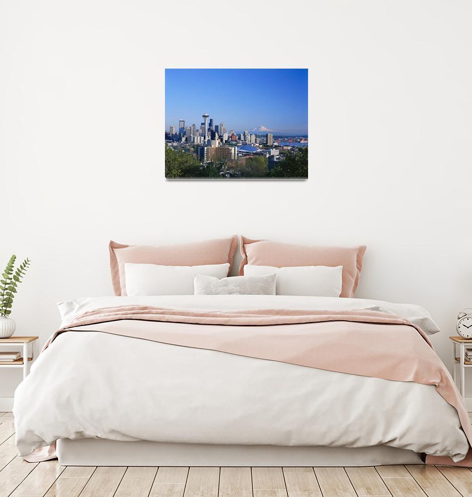 """Washington, Seattle Skyline With Space Needle And""  by DesignPics"