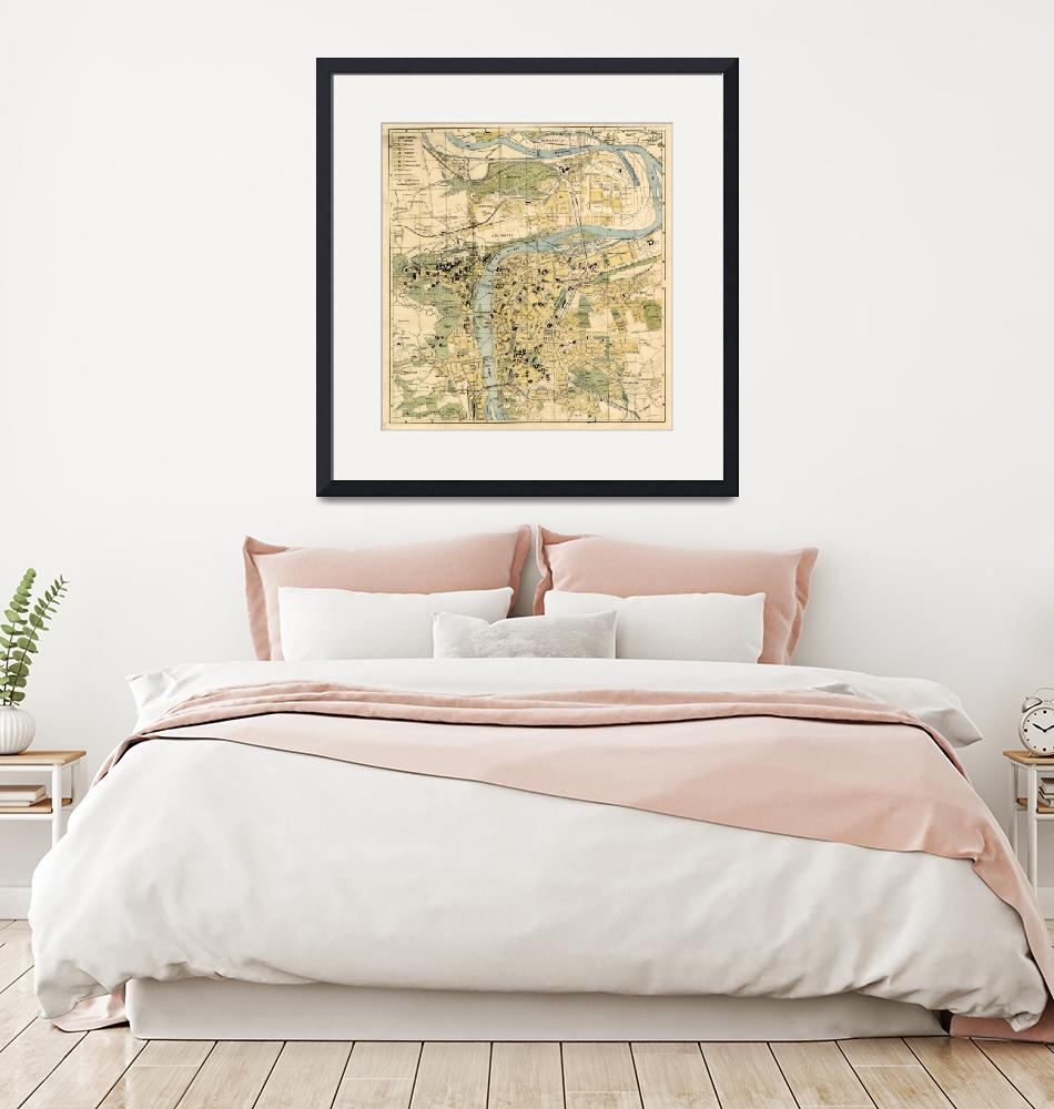 """""""Vintage Map of Prague Czech Republic (1905)""""  by Alleycatshirts"""