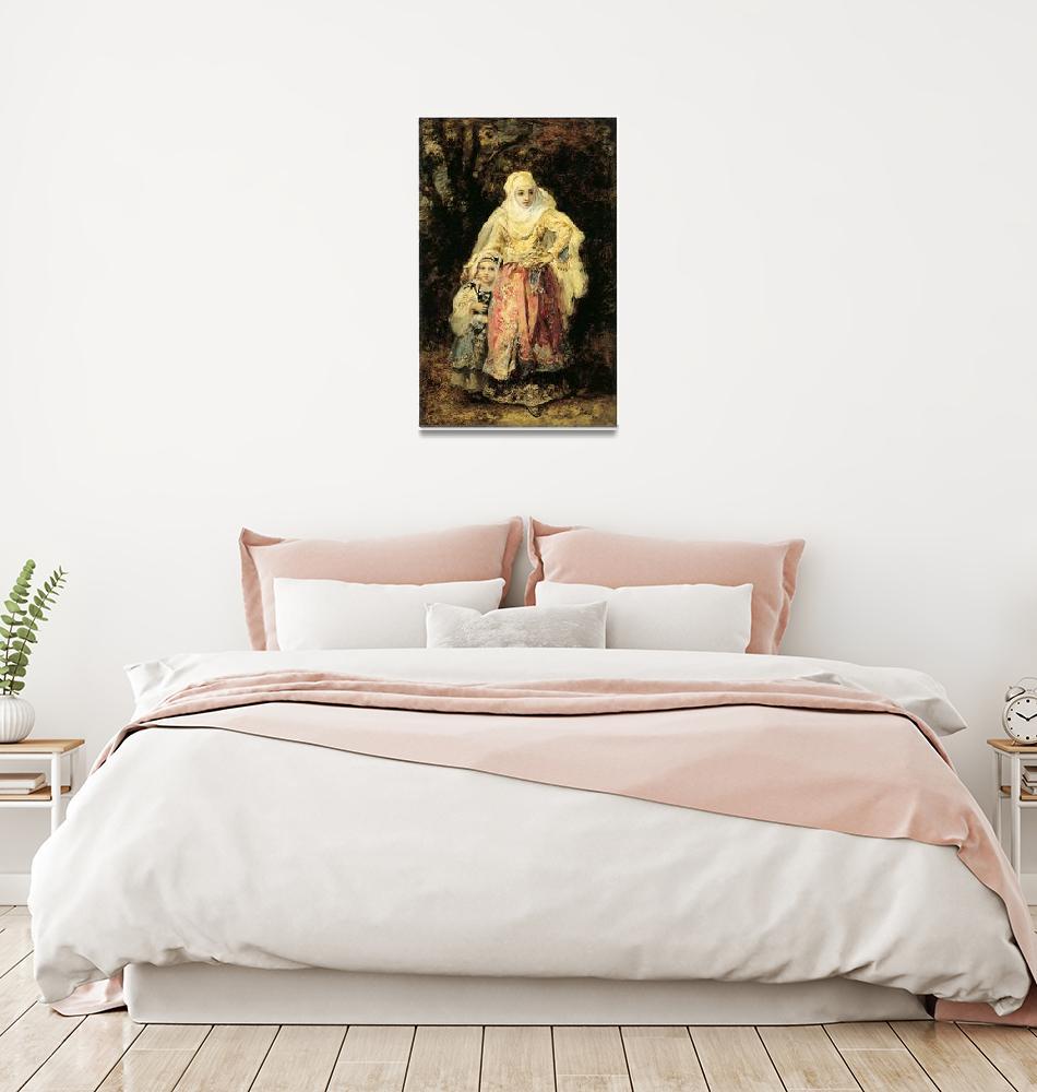 """Oriental Woman and Her Daughter by de la Pena""  by ArtLoversOnline"