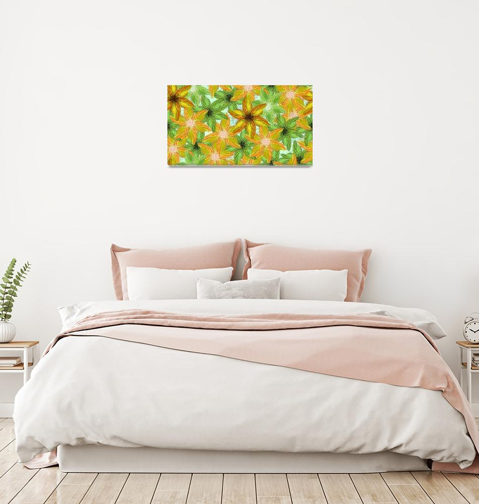 """Canna Flower Pattern""  (2012) by MaryDolan"