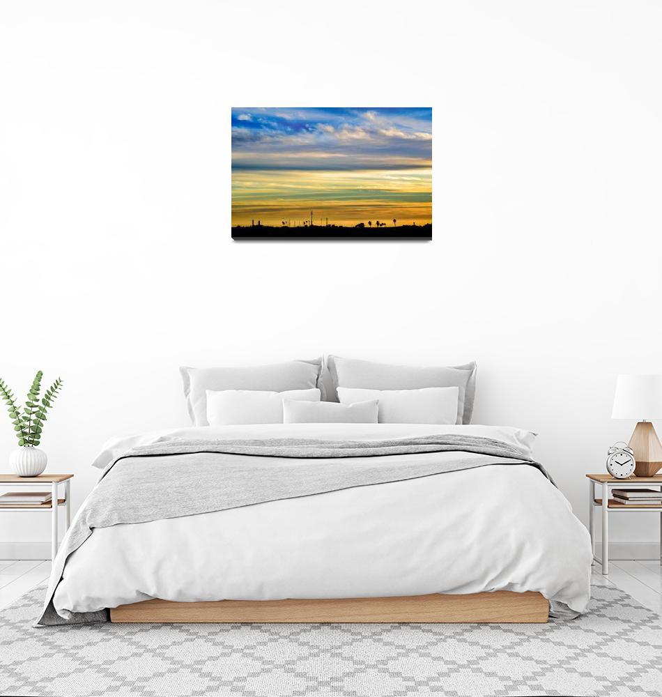 """Countryside Sunset Silhouette Landscape Scene""  (2017) by danfleitesart"