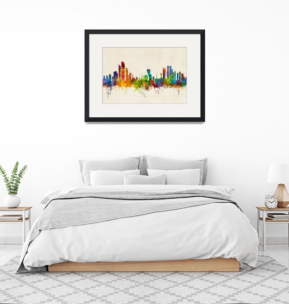 """Abu Dhabi Skyline""  (2016) by ModernArtPrints"