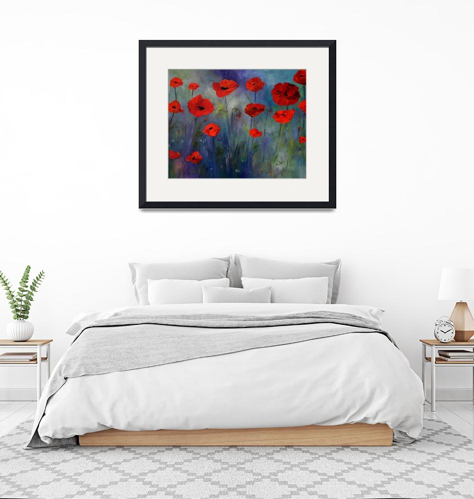 """""""Red Poppies Blue Fog""""  (2014) by artbyclaire"""