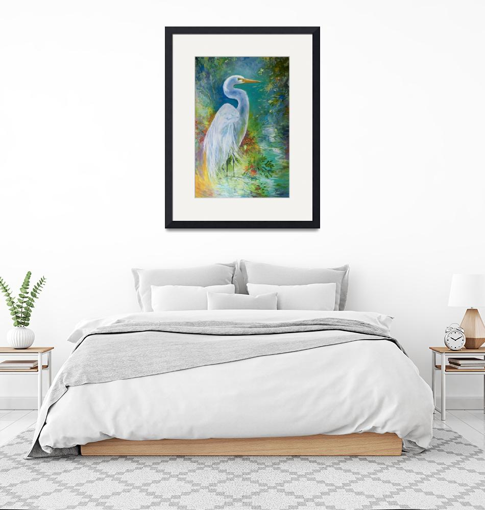"""WHITE EGRET LANDSCAPE WATERS""  (2015) by MBaldwinFineArt2006"