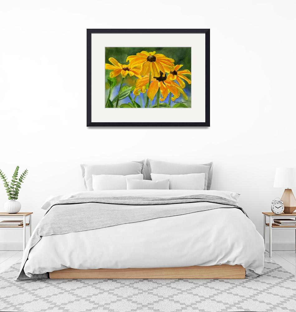 """""""black eyed susans horiz 11x16 res 300""""  by Pacific-NW-Watercolors"""