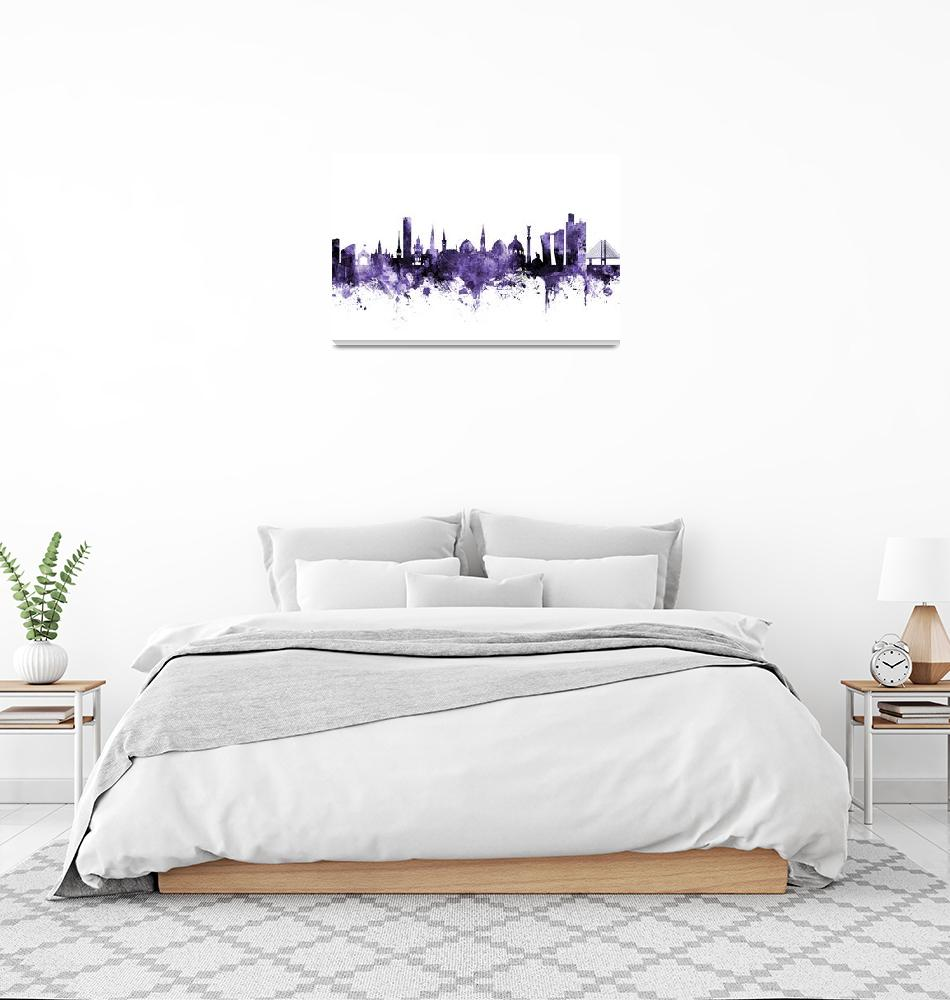 """Copenhagen Denmark Skyline""  (2018) by ModernArtPrints"