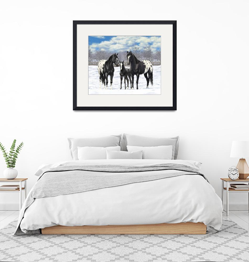 """""""Black Appaloosa Horses In Snow"""" (2017) by csforest"""