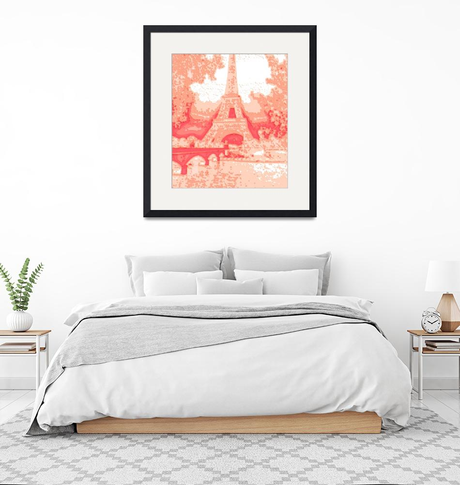 """""""Peach Abstract Decorative Eiffel Tower Seine River""""  (2013) by TheNorthernTerritory"""
