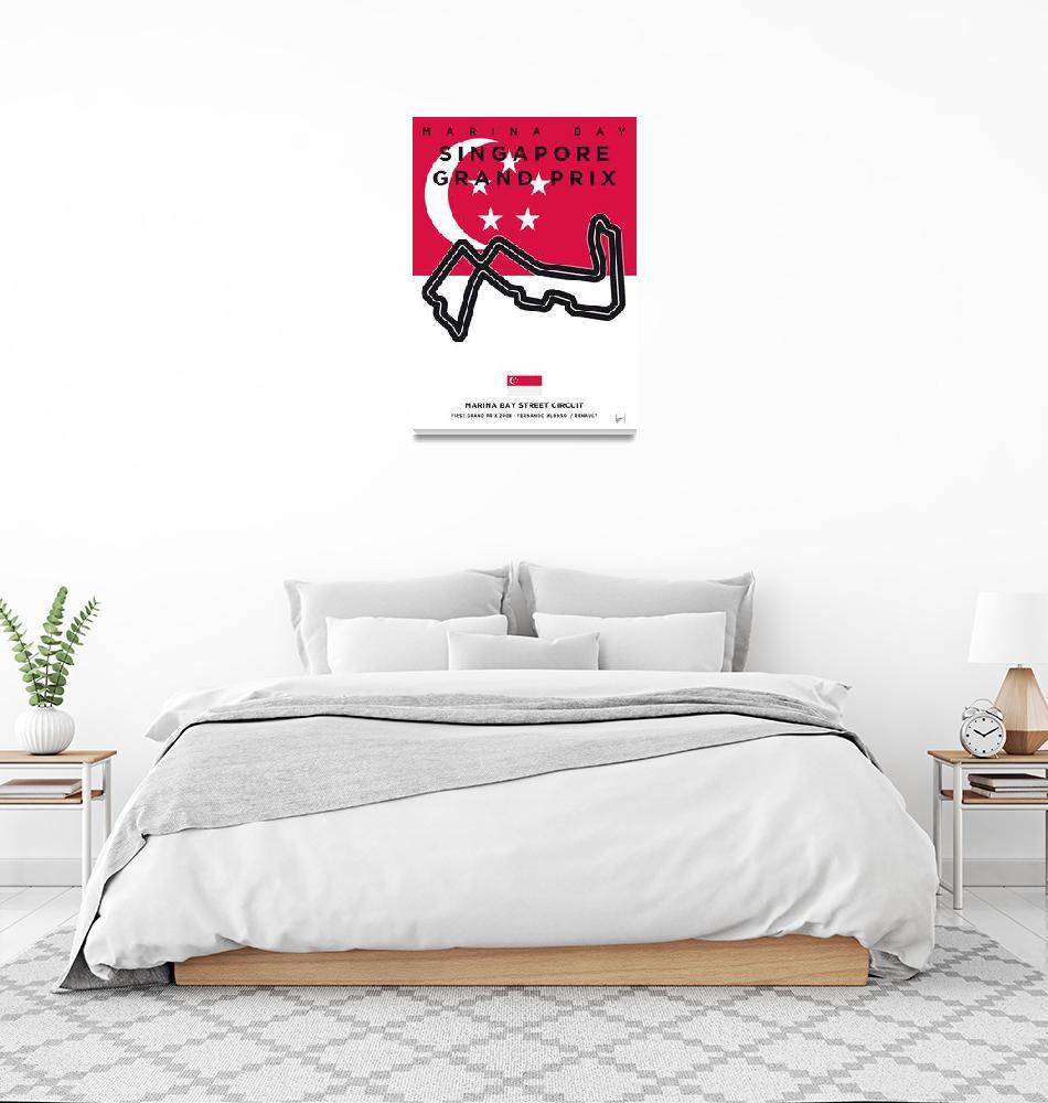 """My F1 MARINA BAY Race Track Minimal Poster""  by Chungkong"