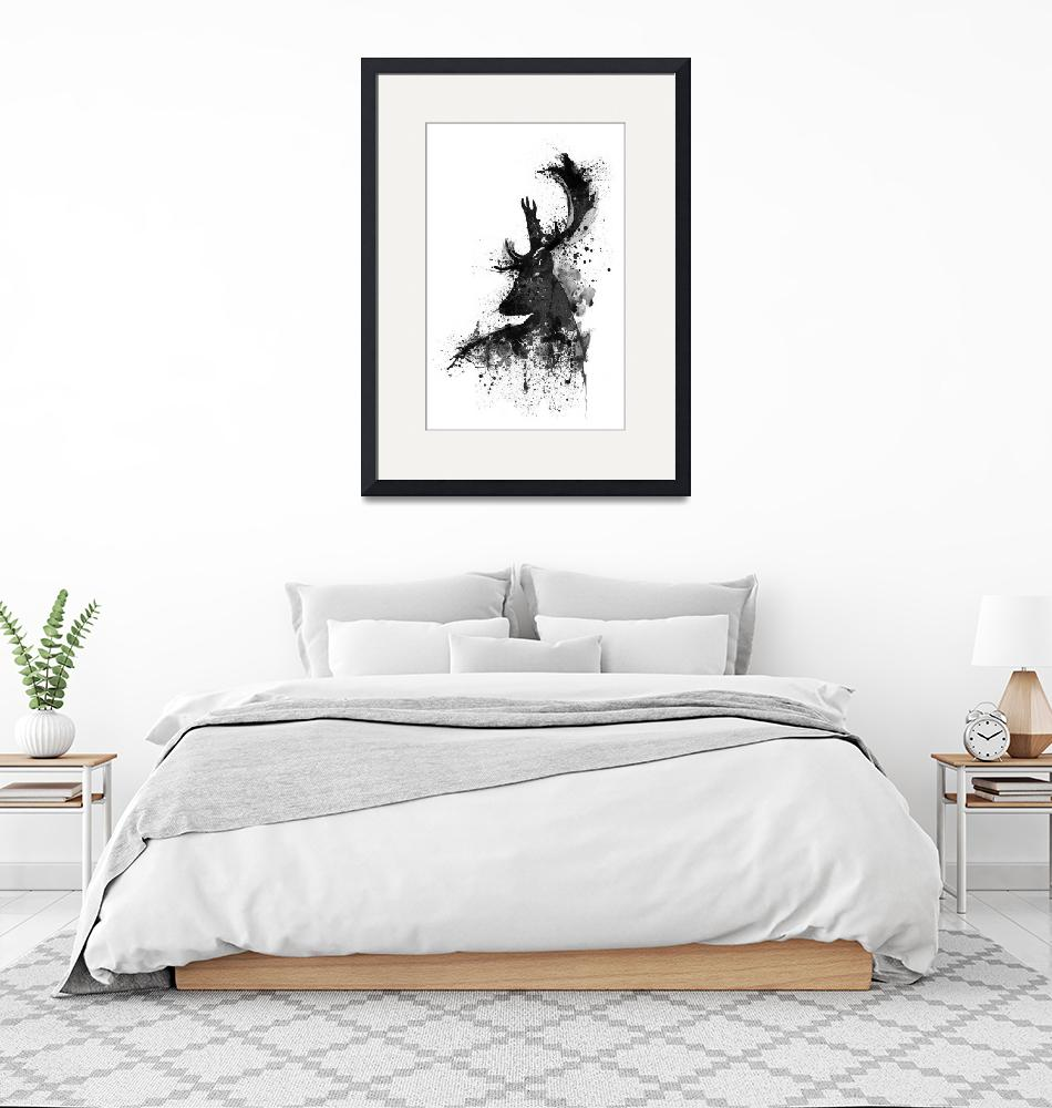 """""""Black And White Deer Head Watercolor Silhouette""""  (2017) by MarianVoicu"""