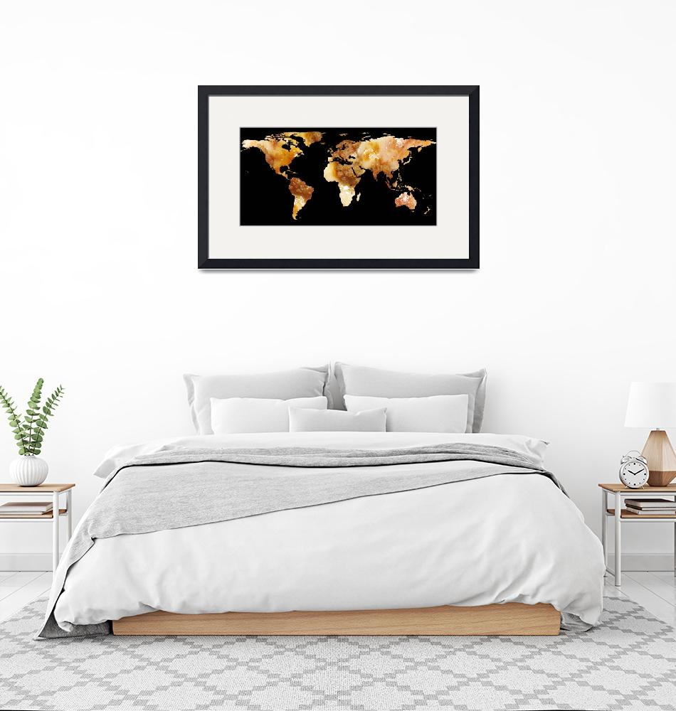 """World Map Silhouette - Sausage Pizza""  by Alleycatshirts"