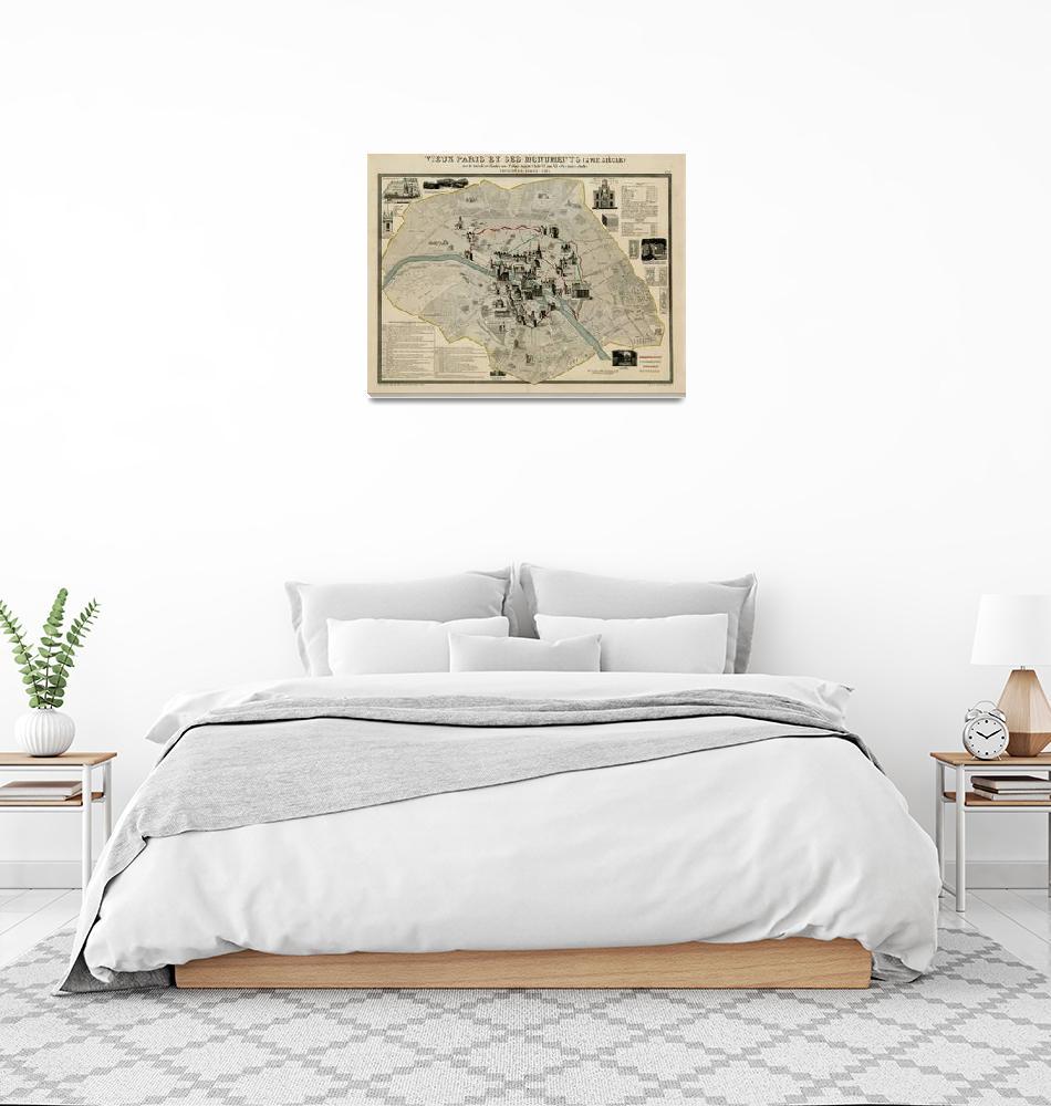 """Vintage Paris France Monuments & Landmarks Map (18""  by Alleycatshirts"