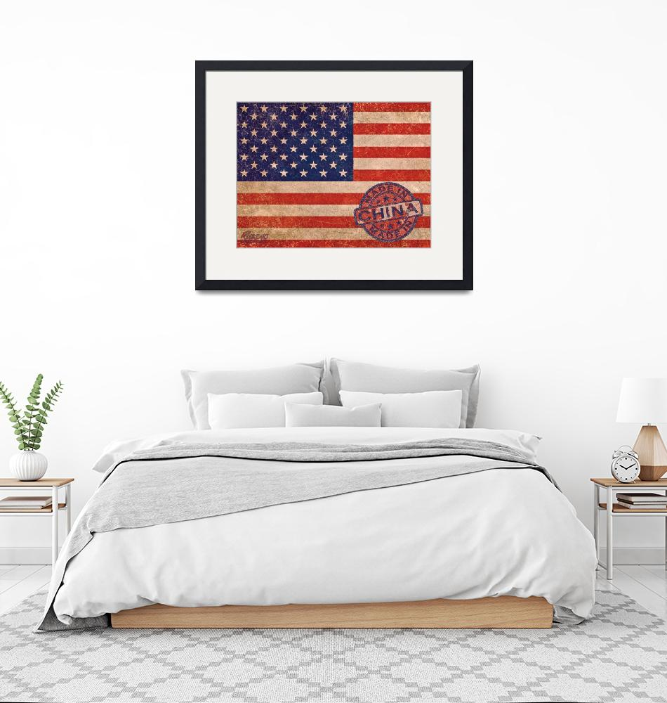 """""""American Flag Made In China""""  (2013) by RubinoFineArt"""