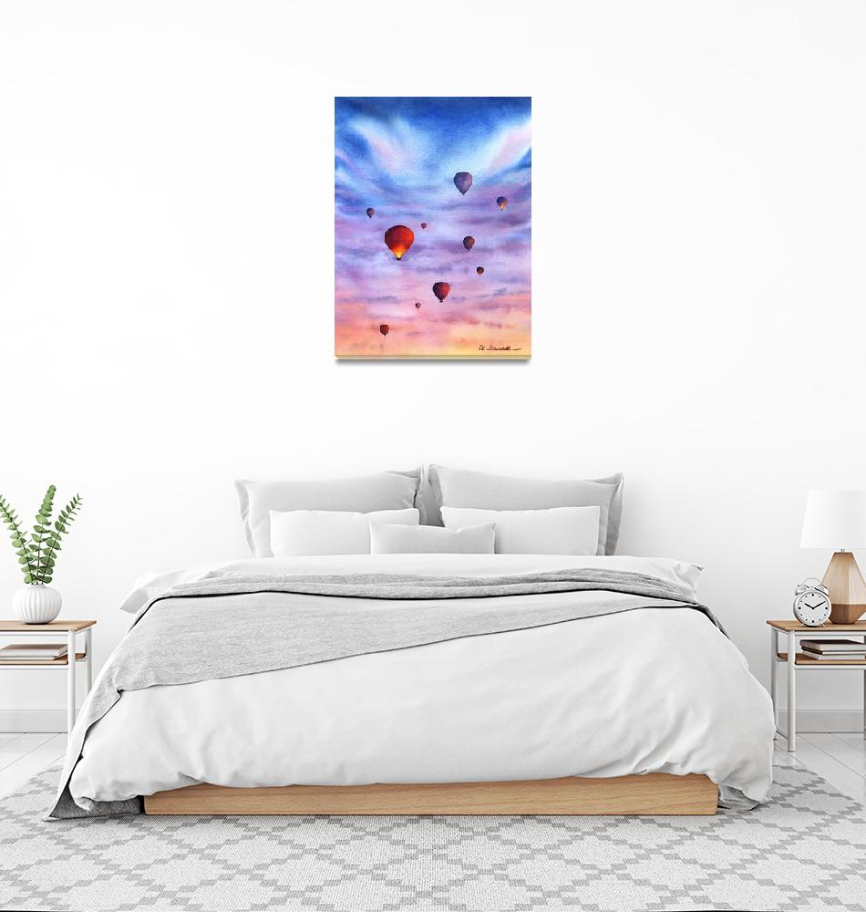 """Lights of hot air balloons""  (2021) by malikova"