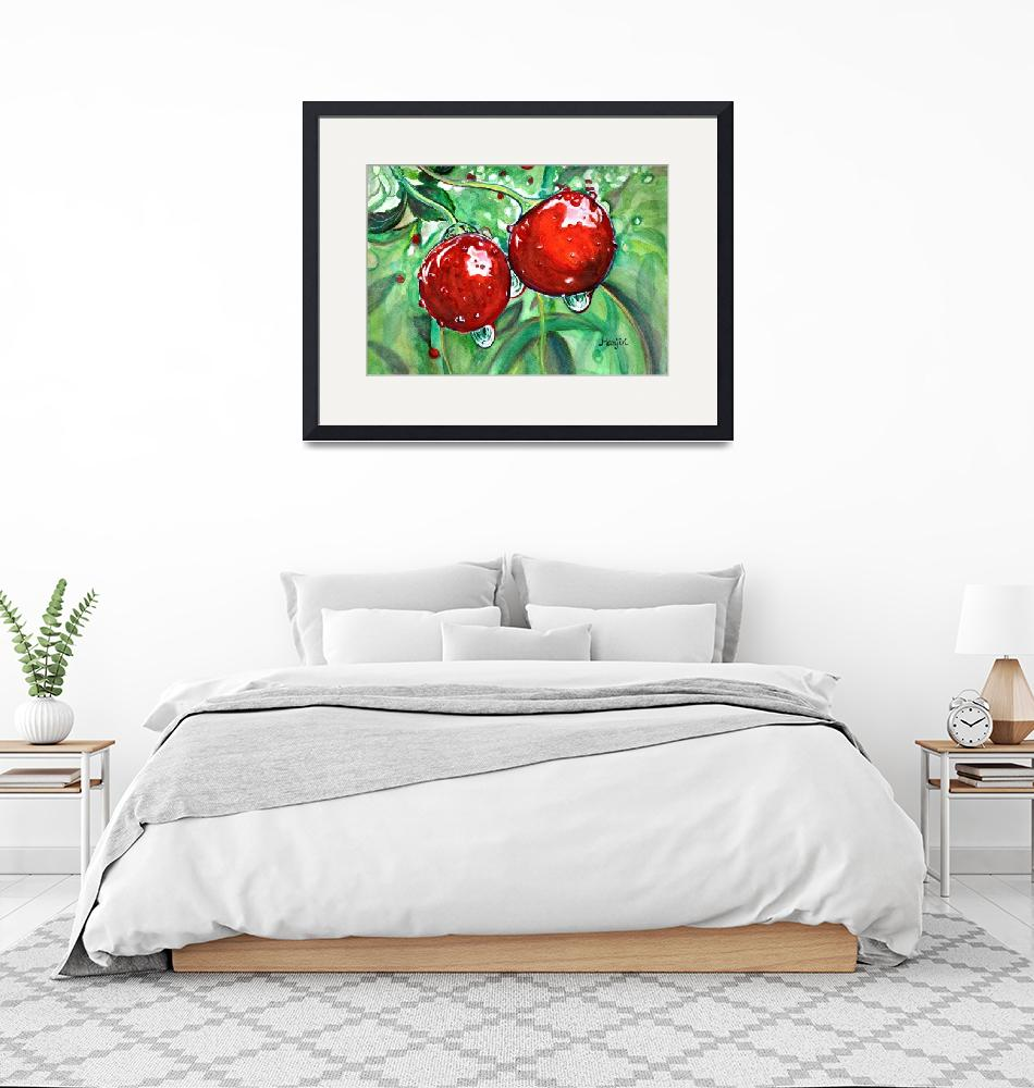 """Red cherries in orchard watercolor vibrant colorfu""  (2020) by mkanvinde"
