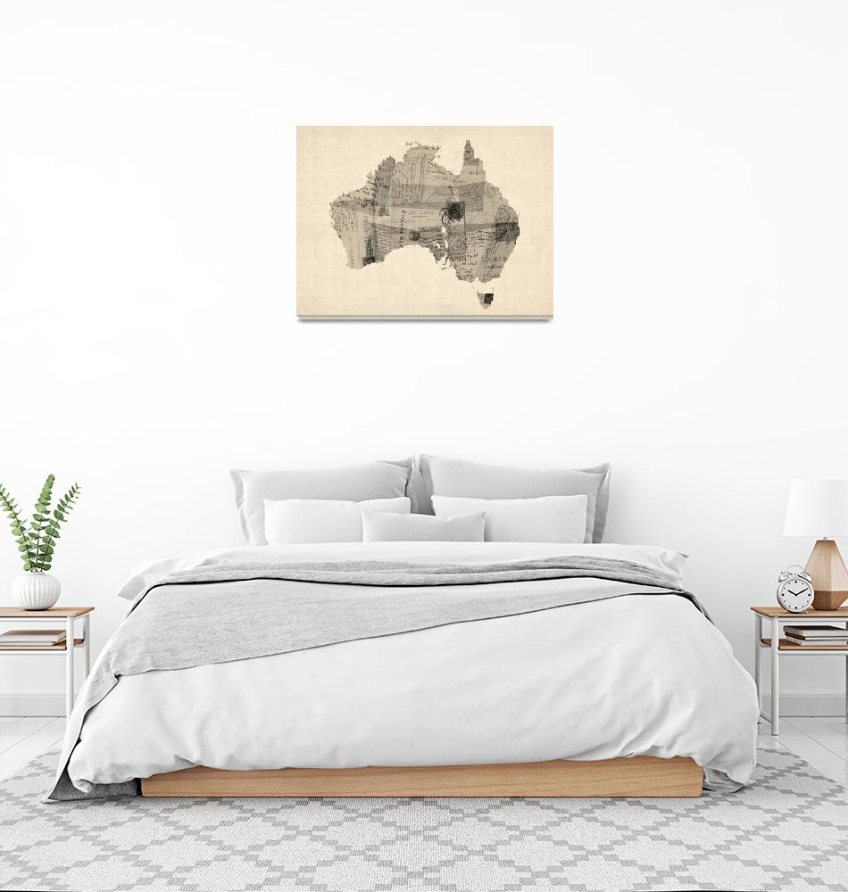 """Old Postcard Map of Australia Map""  (2014) by ModernArtPrints"