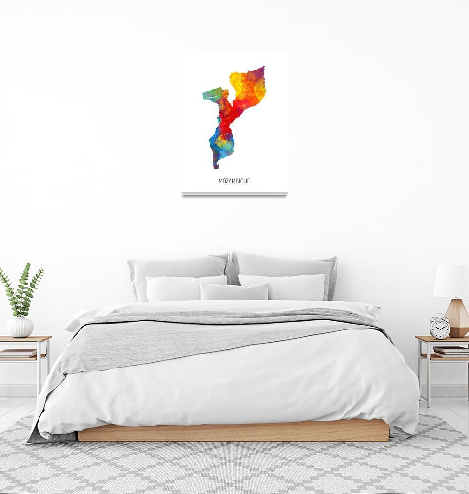 """Mozambique Watercolor Map""  (2019) by ModernArtPrints"