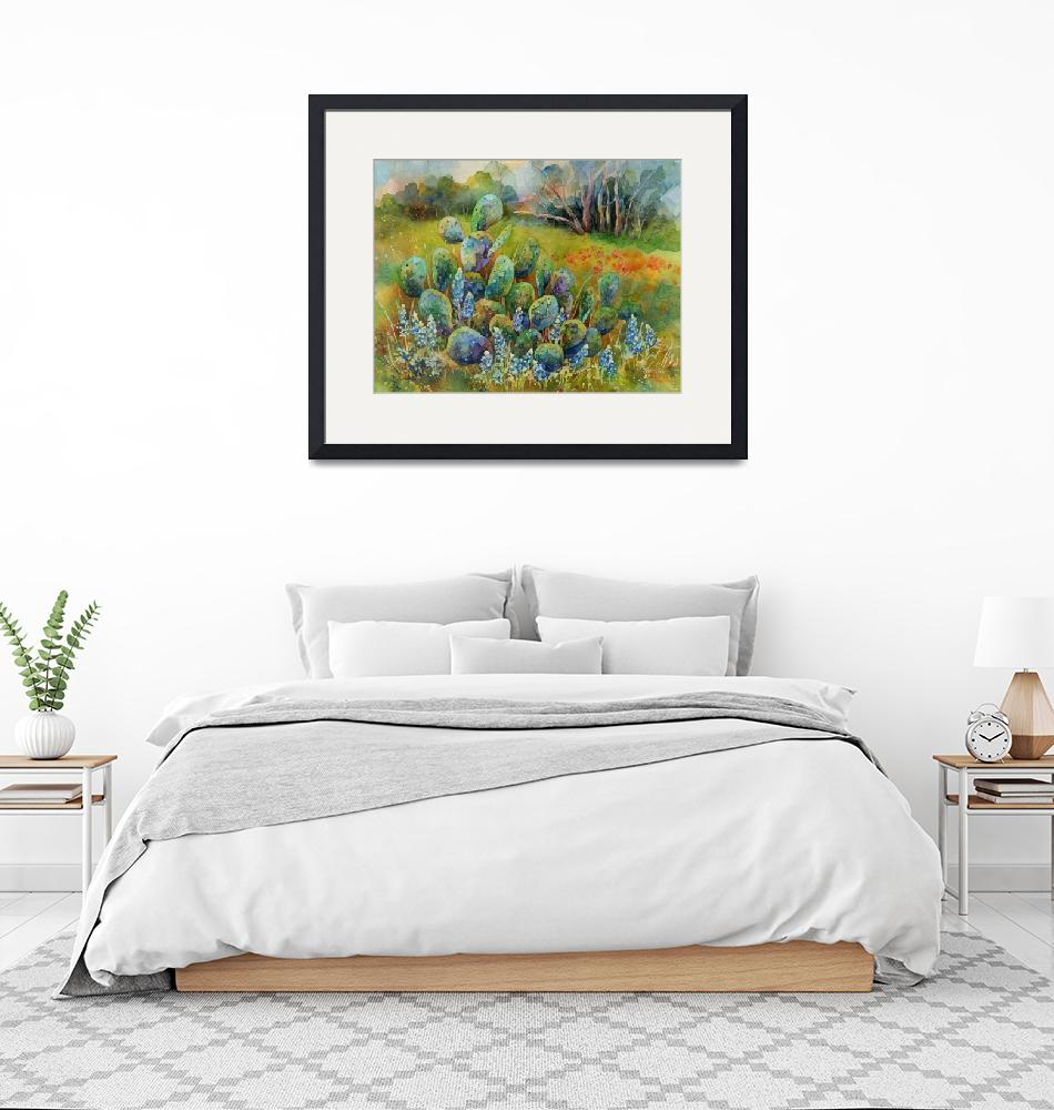 """""""Bluebonnets and Cactus"""" (2016) by HaileyWatermedia"""